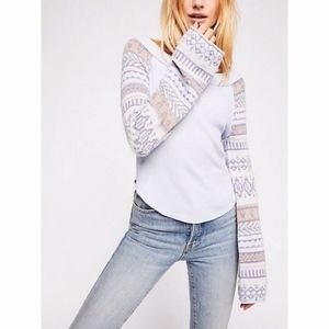 Free People Periwinkle Fairground Thermal Top NEW
